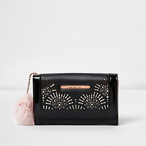 Girls black laser cut pom pom purse