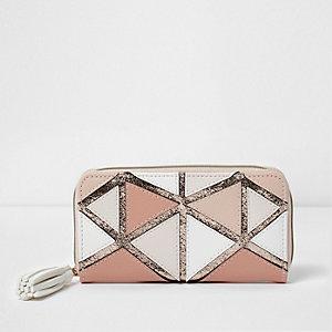 Roze metallic portemonnee met patchwork en geometrische print voor meisjes