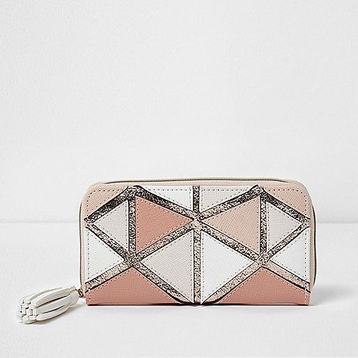 Girls pink metallic geo patchwork purse