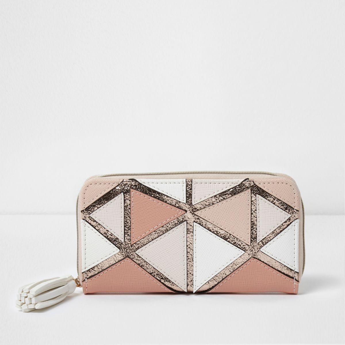Girls pink metallic geo patchwork purse