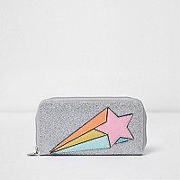 Girls silver glitter star purse