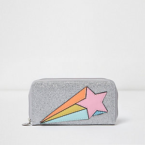 Girls silver glitter star purse