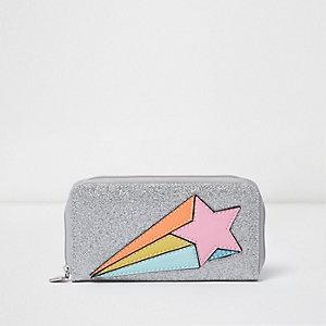 Zilverkleurige portemonnee met glitters en ster voor meisjes