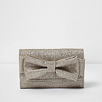 Girls gold glitter bow trifold purse