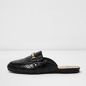 Girls black croc snaffle backless loafers