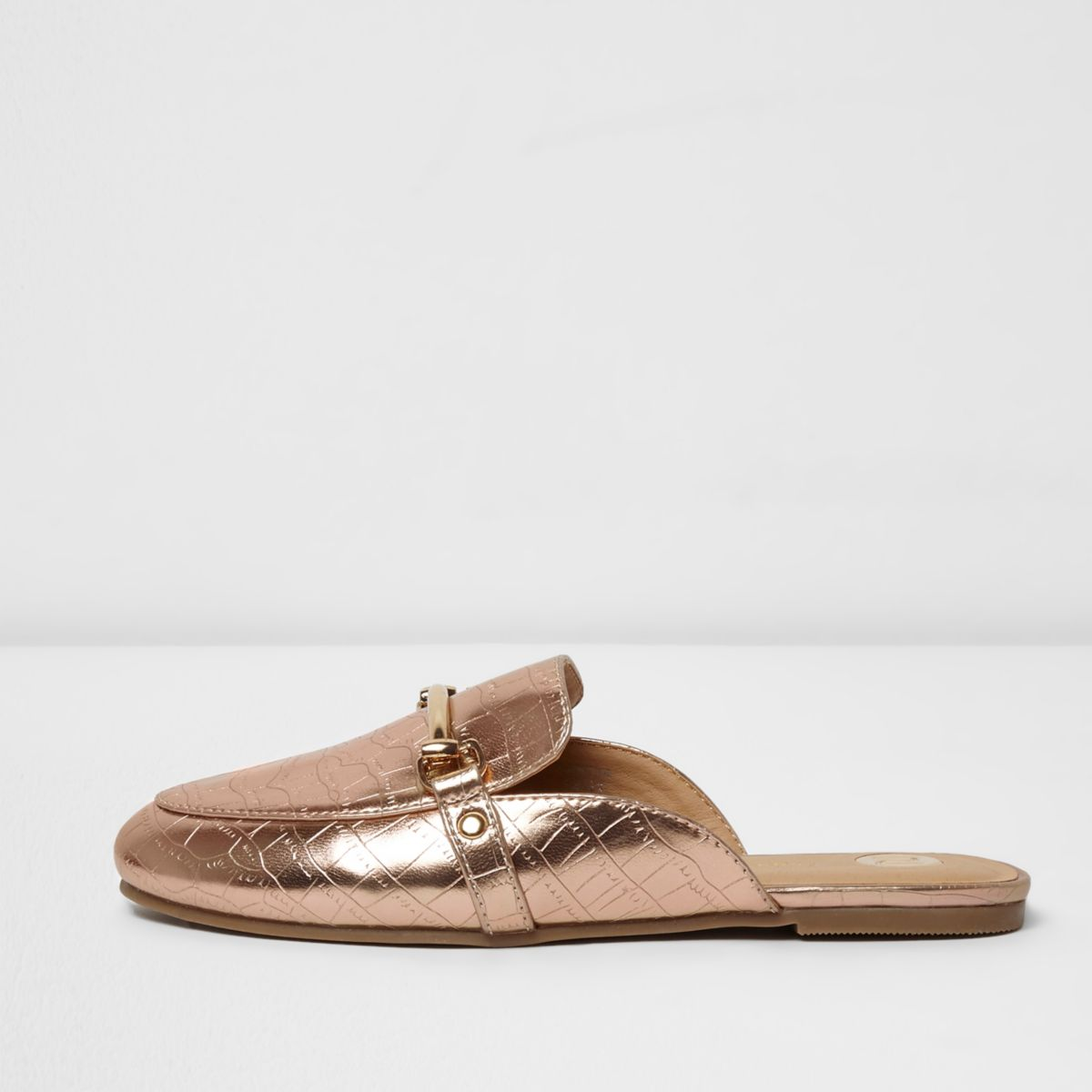 Girls pink metallic snaffle backless loafers