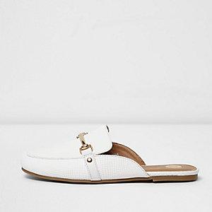 Witte loafers zonder achterkant voor meisjes