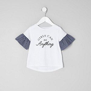 Mini - Wit T-shirt met gestreepte poplin mouwen voor meisjes