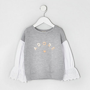 Mini girls grey marl poplin sleeve sweatshirt