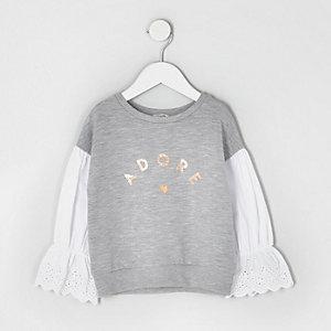 Mini - Gemêleerd grijs sweatshirt met poplin mouwen voor meisjes