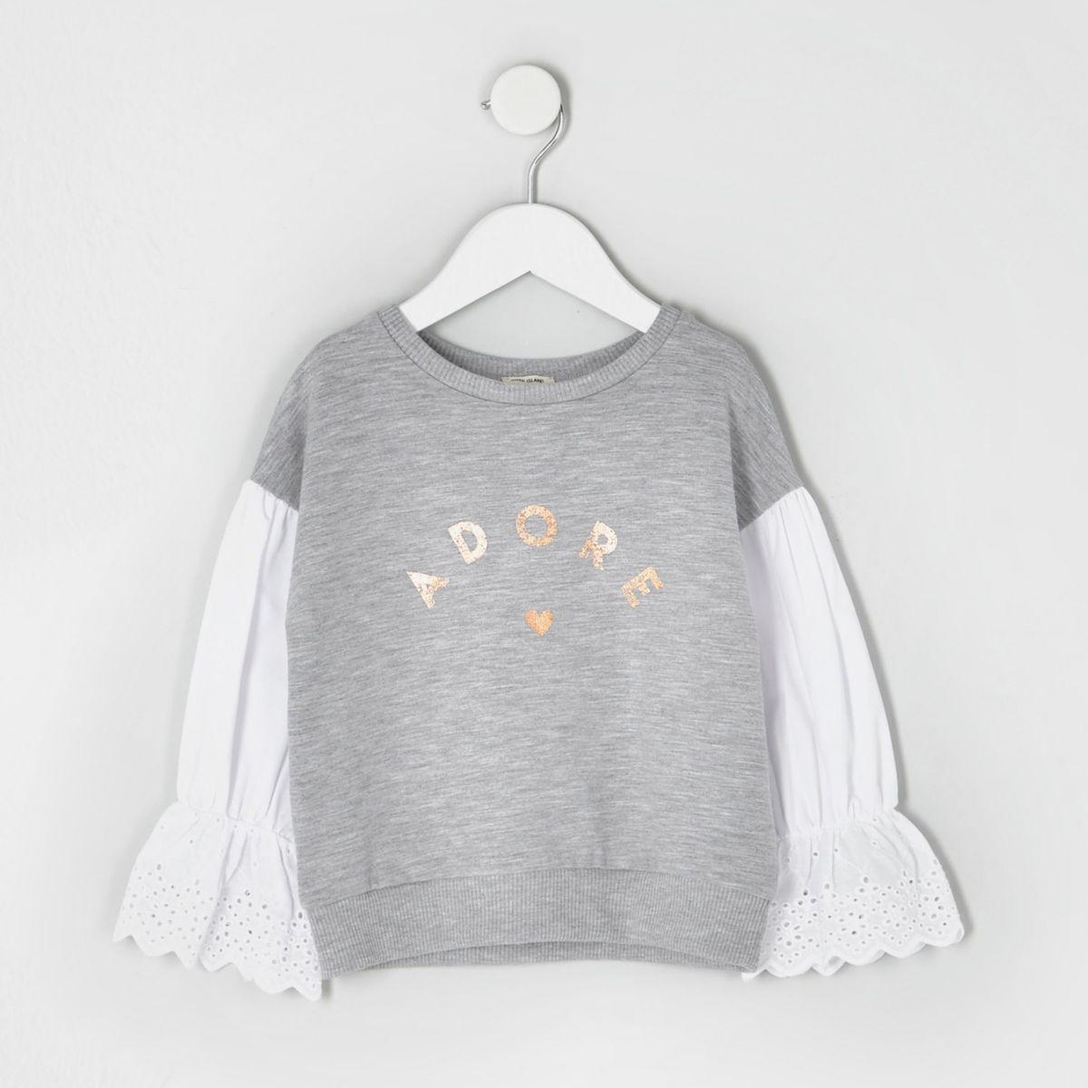 Mini girls grey marl poplin sleeve sweatshirt