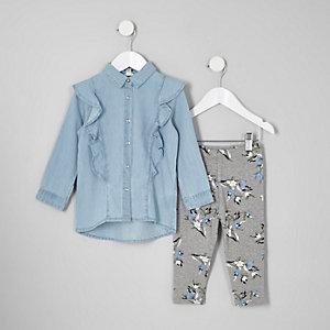 Mini girls outfit van denim overhemd en legging