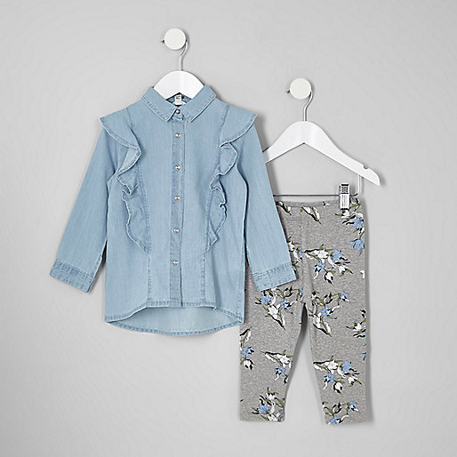 Mini girls denim shirt and leggings outfit