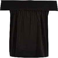 Girls black shirred bardot swing top