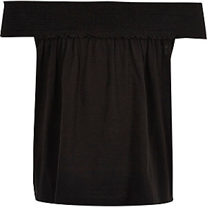 Girls black shirred bardot swing top