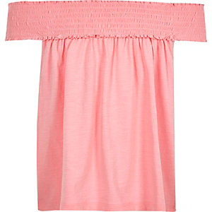 Girls pink shirred bardot swing top