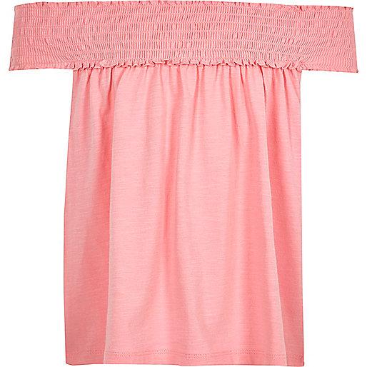 Girls pink shirred bardot swing top