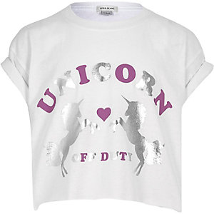 Girls white 'Unicorn' print cropped T-shirt