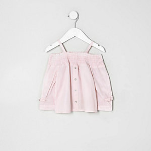 Mini girls pink stripe shirred bardot top