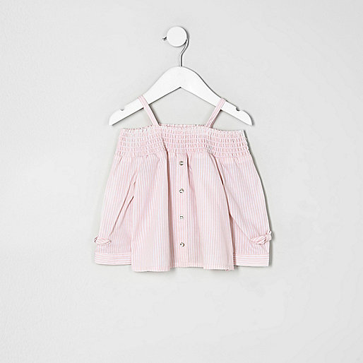 Mini girls pink stripe shirred bardot top