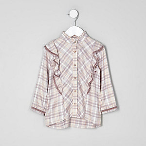 Mini girls pink check frill high neck shirt