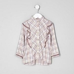 Mini - Roze geruit hoogsluitend overhemd met ruches voor meisjes