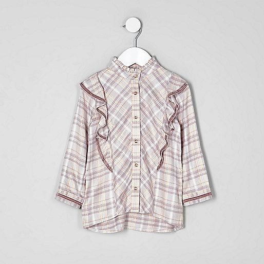 Mini girls pink check frill high neck shirt