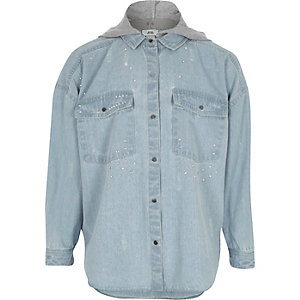 Girls blue hooded embellished denim shirt