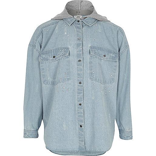 Girls blue hooded embellished denim shirt