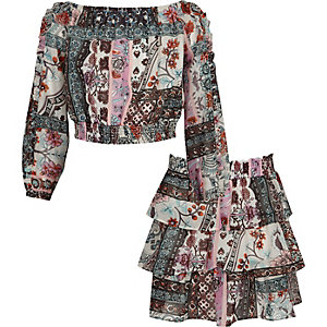 Girls print bardot top and rara skirt outfit