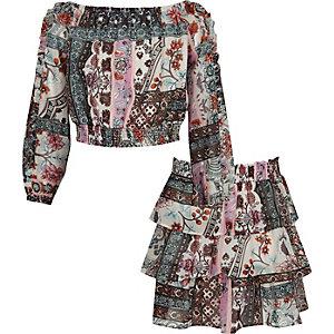 Outfit met bardottop met print en gelaagde rok voor meisjes