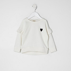 Mini girls cream frill sleeve sweatshirt