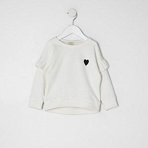 Mini - Crème sweatshirt met ruches aan de mouwen voor meisjes