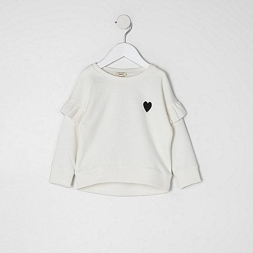 Mini girls cream frill sleeve sweatshirt