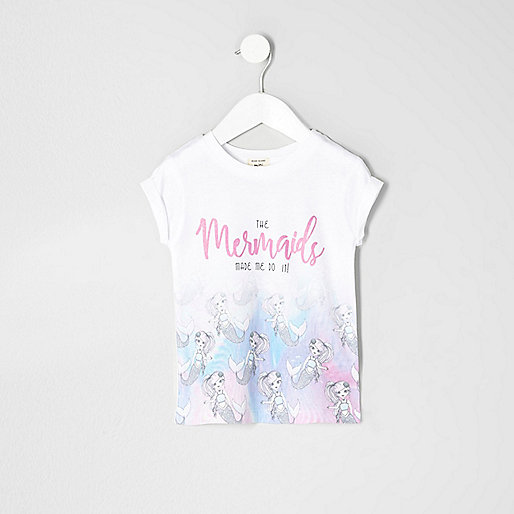Mini girls white mermaid print T-shirt