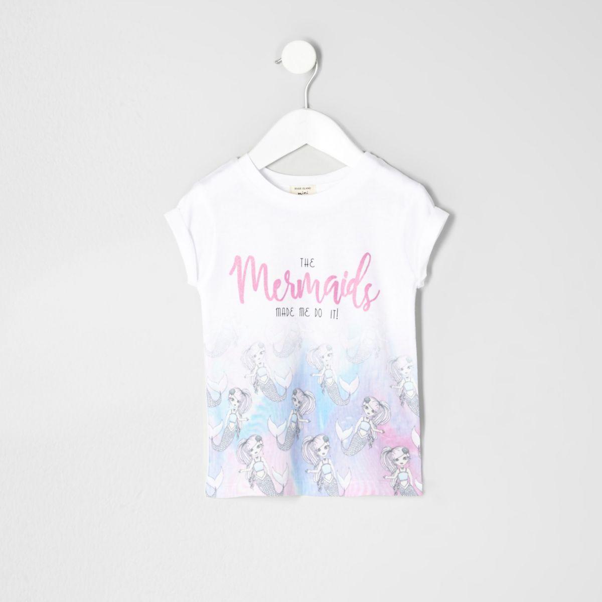 Mini girls white mermaid print T-shirt