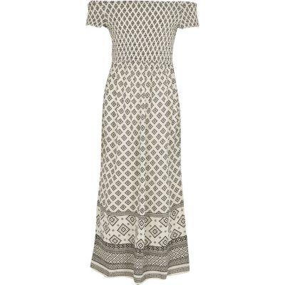 River Island Crème gesmokte maxi-jurk in bardotstijl met tegelprint voor meisjes