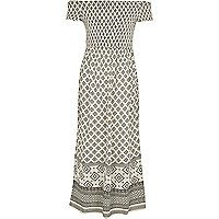 Girls cream tile shirred bardot maxi dress