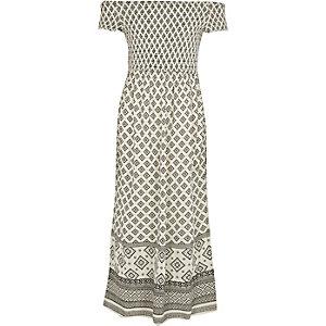 Crème gesmokte maxi-jurk in bardotstijl met tegelprint voor meisjes