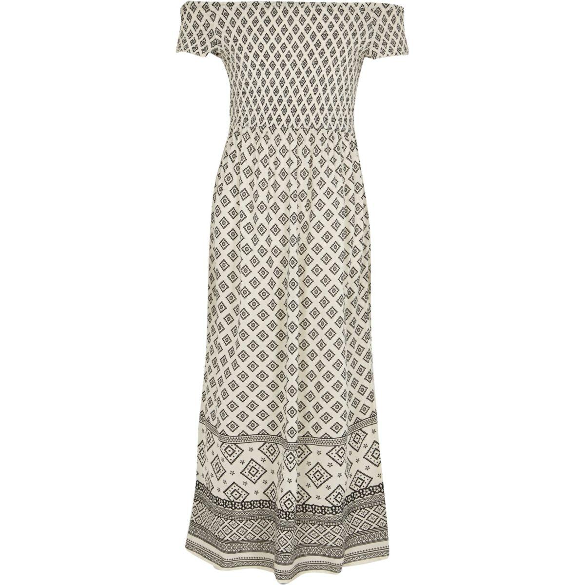 Girls cream tile shirred bardot maxi dress
