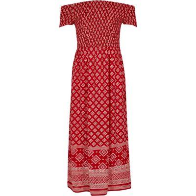 River Island Rode gesmokte maxi-jurk in bardotstijl met tegelprint voor meisjes