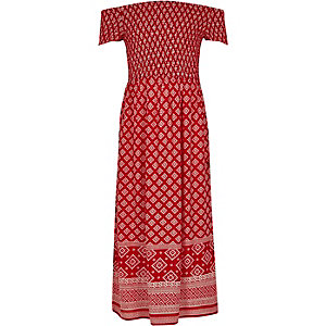 Girls red tile shirred bardot maxi dress