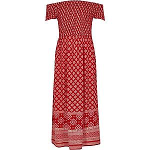 Rode gesmokte maxi-jurk in bardotstijl met tegelprint voor meisjes