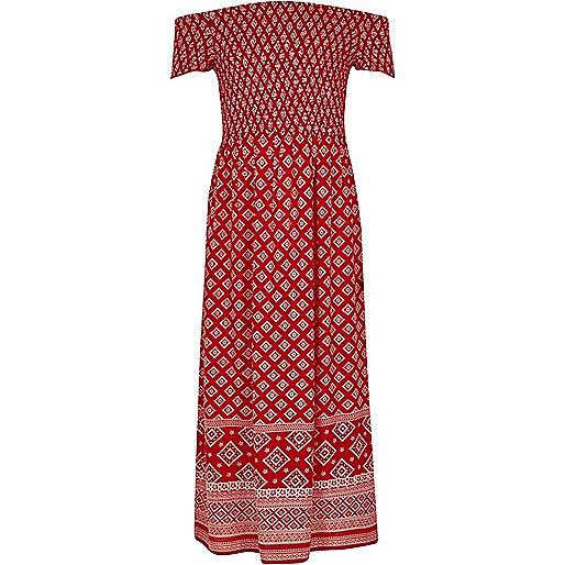 Girls red tile shirred bardot maxi dress