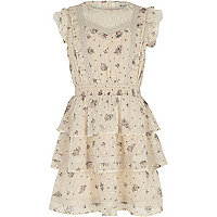 Girls cream floral lace trim frill dress