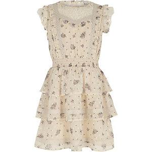Crème gebloemde jurk met kant en ruches