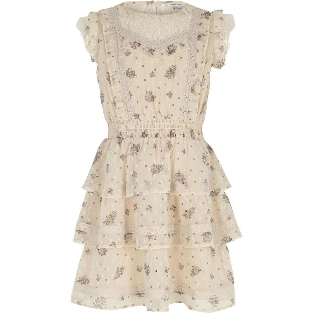 Girls cream floral lace trim frill dress