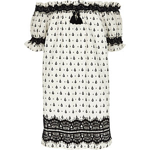 Girls white print lace bardot dress
