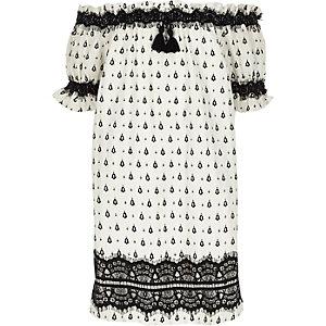 Robe Bardot imprimée blanche avec dentelle pour fille