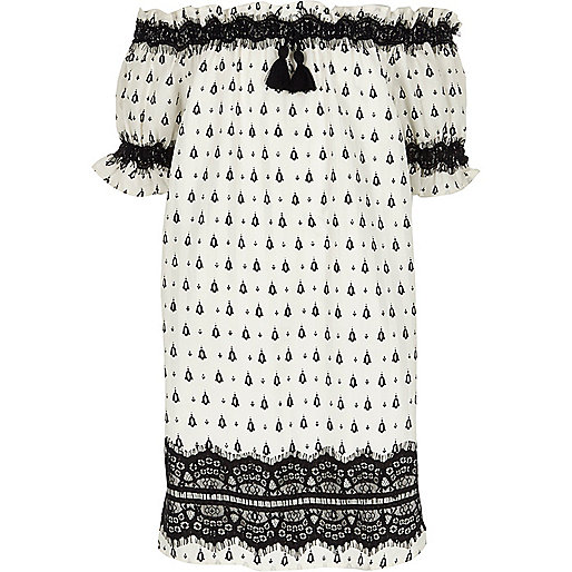 Girls white print lace bardot dress